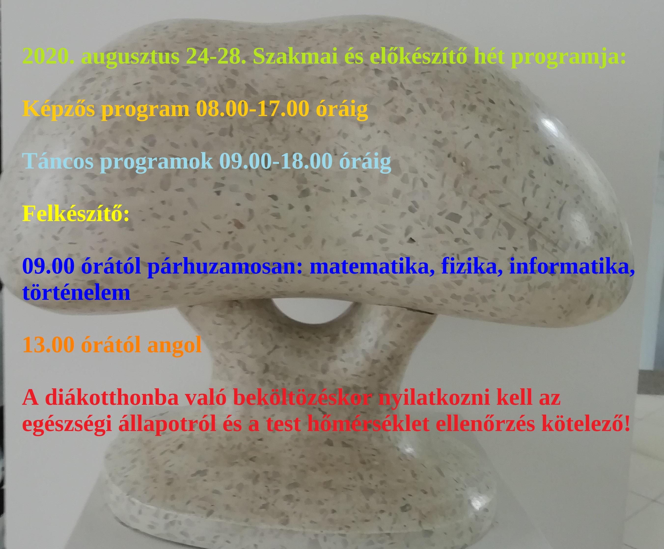 Szakmai és előkészítő hét programja